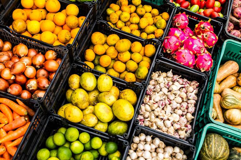 Produtos orgânicos comercializados em feira em São Paulo