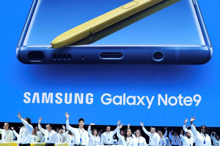 Anúncio do Galaxy Note 9, novo smartphone da Samsung, em Nova York